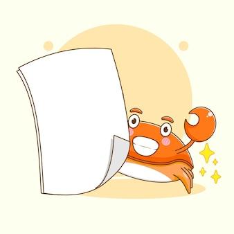 Карикатура иллюстрации милого краба с пустым листом бумаги