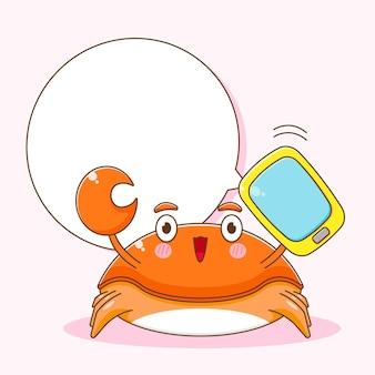 Карикатура иллюстрации милого краба с телефоном и пузырьковой речью