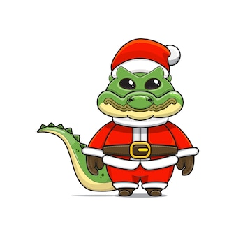 Карикатура иллюстрации милого талисмана крокодила в костюме санта-клауса