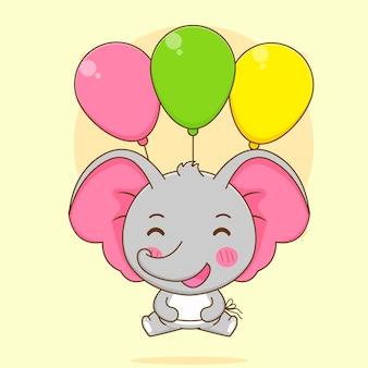 Карикатура иллюстрации милого слона, плавающего с разноцветными воздушными шарами