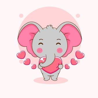 Карикатура иллюстрации милый слон держит сердце любви