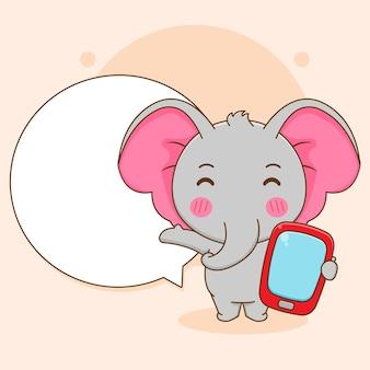 Карикатура иллюстрации милого слона, держащего телефон с речевым пузырем