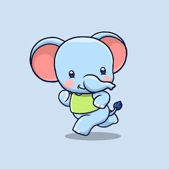 走っているかわいい象の漫画イラスト