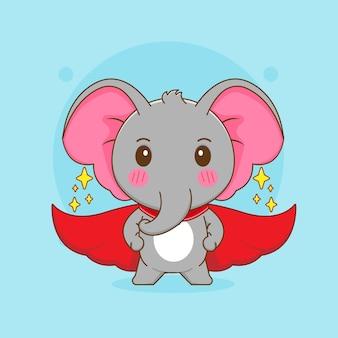 Карикатура иллюстрации милого слона с красным плащом как супергероя
