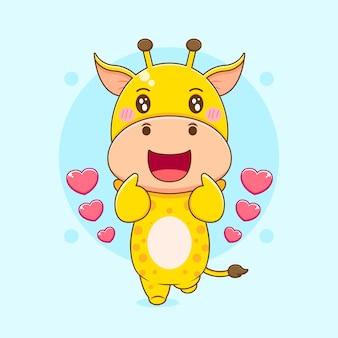 Карикатура иллюстрации симпатичного жирафа, позирующего любовный палец