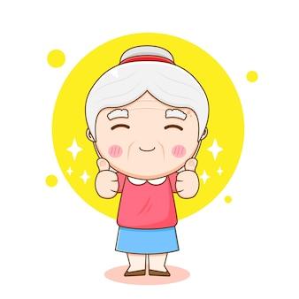 親指を立てるかわいいおばあちゃんのキャラクターの漫画イラスト