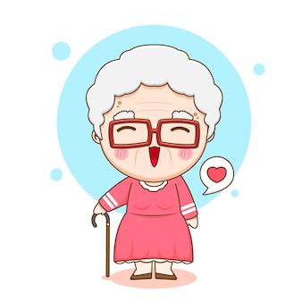 귀여운 할머니 캐릭터의 만화 그림