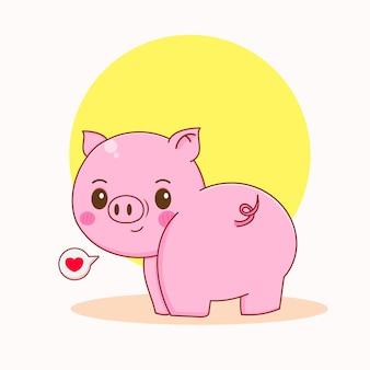 振り返ってかわいい幸せな豚のキャラクターの漫画イラスト