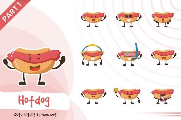 Мультфильм иллюстрации мило позы хот-дог.