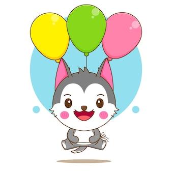 다채로운 풍선과 함께 떠있는 귀여운 허스키 캐릭터의 만화 그림