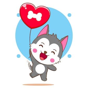 사랑 풍선 비행 귀여운 허스키 캐릭터의 만화 그림