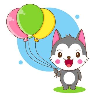 다채로운 풍선을 들고 귀여운 허스키 캐릭터의 만화 그림