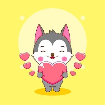 사랑의 마음을 들고 귀여운 허스키 캐릭터의 만화 그림