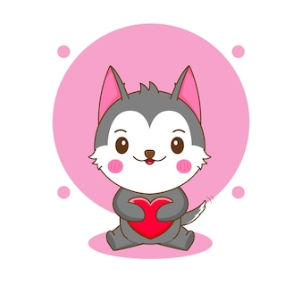 사랑을 포옹하는 귀여운 허스키 캐릭터의 만화 그림