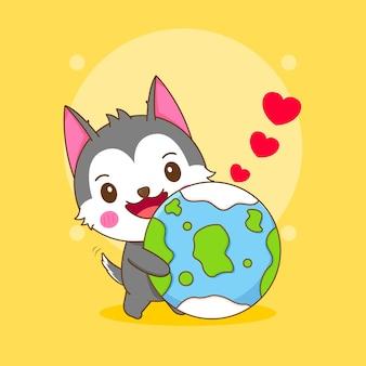 귀여운 허스키 캐릭터의 만화 그림은 지구를 사랑합니다