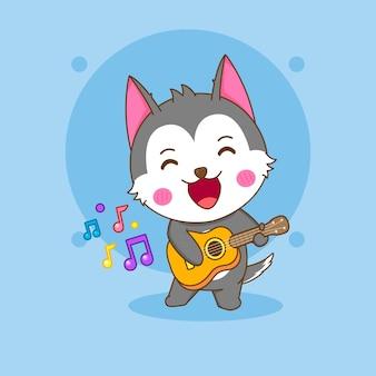 기타를 연주하는 귀여운 허스키 캐릭터의 만화 그림