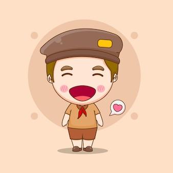 プラムカの日のコンセプトを持つかわいいインドネシアの少年の漫画イラスト Premiumベクター