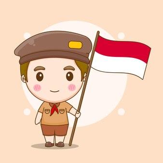 プラムカの日のコンセプトを持つかわいいインドネシアの少年の漫画イラスト