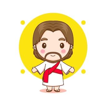 귀여운 예수 캐릭터의 만화 그림 프리미엄 벡터