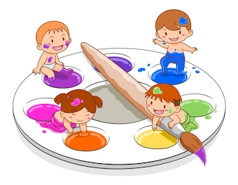 Cartoon illustration of cute kids playing in colour mixing palette.
