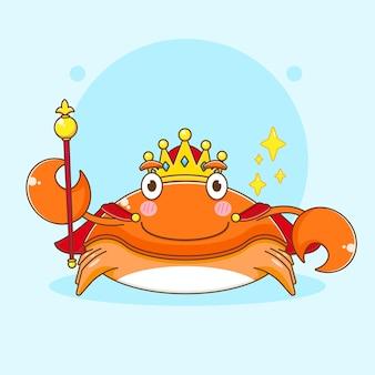 Карикатура иллюстрации милого королевского краба