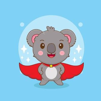 スーパーヒーローキャラクターとしてかわいいコアラの漫画イラスト
