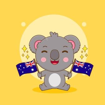 オーストラリアの旗を保持しているかわいいコアラのキャラクターの漫画イラスト
