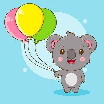 風船を保持しているかわいいコアラのキャラクターの漫画イラスト