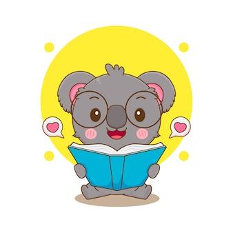 本を読んでかわいいコアラのキャラクターの漫画イラスト