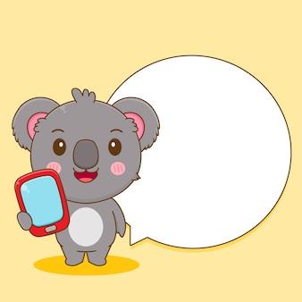 電話とバブルチャットでかわいいコアラのキャラクターの漫画イラスト