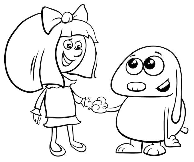 Мультфильм иллюстрация милой маленькой девочки с смешной собакой