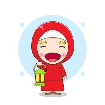 Latern와 귀여운 무슬림 여성 캐릭터의 만화 그림