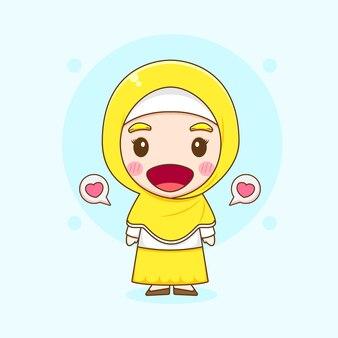 귀여운 무슬림 여성 캐릭터의 만화 그림