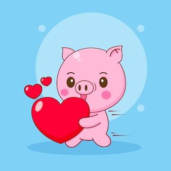 귀여운 돼지의 만화 그림은 사랑의 마음을 가져옵니다