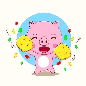 かわいい豚のキャラクターの漫画イラスト