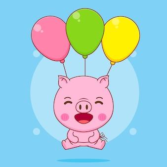 カラフルな風船で飛んでいるかわいい豚の漫画イラスト
