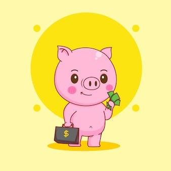 スーツケースとお金を保持しているかわいい豚の漫画イラスト