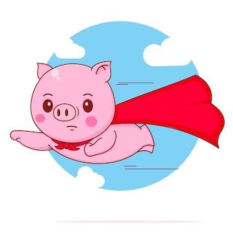 赤いマントで飛んでいるかわいいブタのスーパーヒーローの漫画イラスト