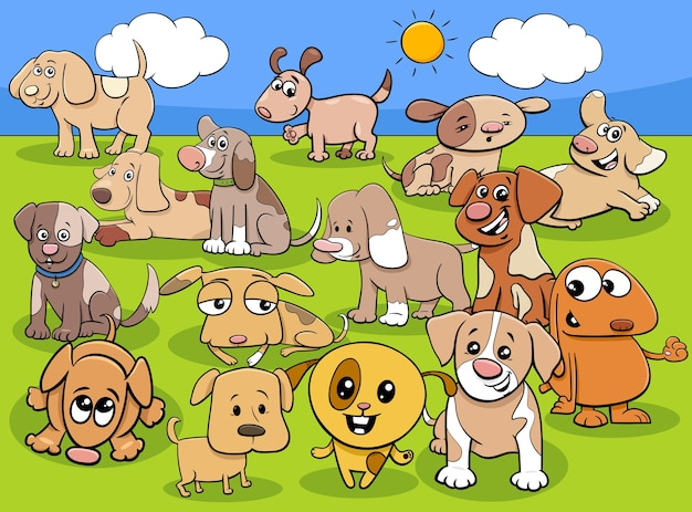 귀여운 강아지 또는 작은 개 동물 캐릭터 그룹의 만화 그림