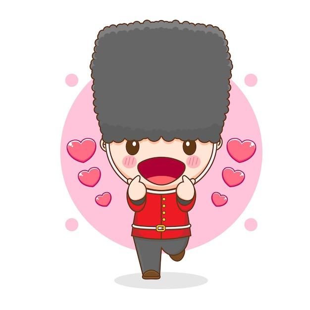 Карикатура иллюстрации милого королевского охранника, позирующего любовным пальцем