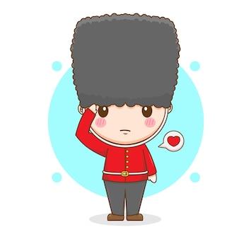 귀여운 여왕 가드 캐릭터의 만화 그림