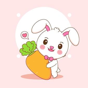 큰 당근을 들고 귀여운 토끼의 만화 그림