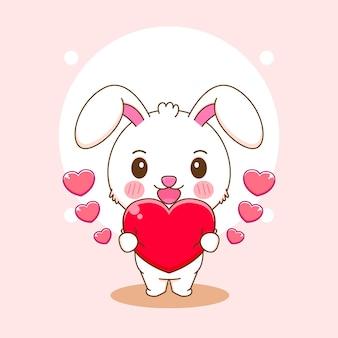 Карикатура иллюстрации милый кролик держит сердце любовь