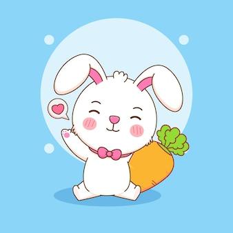 당근과 귀여운 토끼의 만화 그림