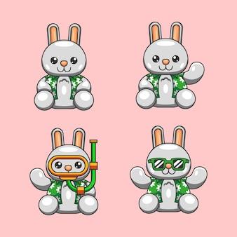 世界の海の日の準備ができて夏シャツとかわいいウサギの漫画イラスト