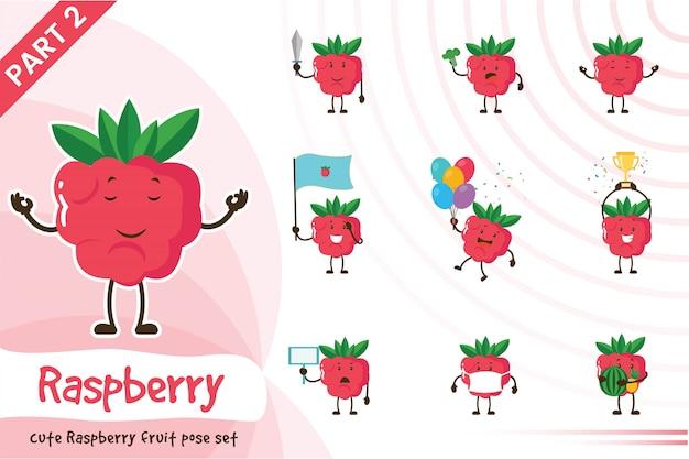 Иллюстрации шаржа милый набор фруктов малины