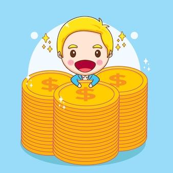 Карикатура иллюстрации милого богатого бизнесмена, держащего монеты