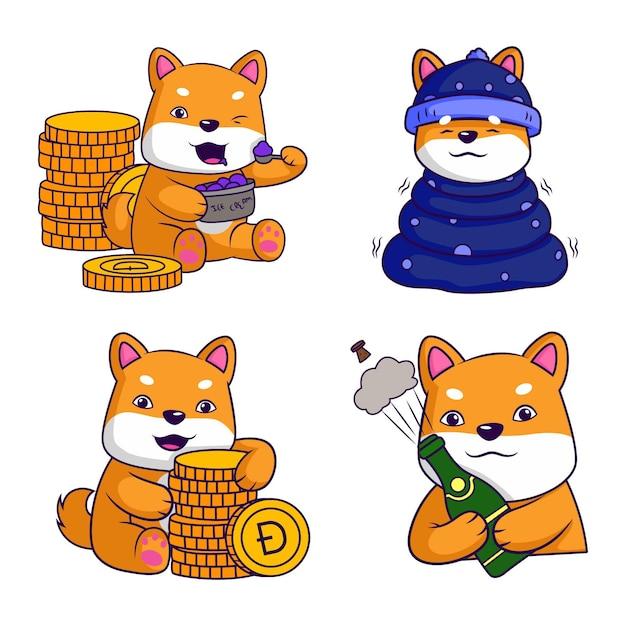 ドージコインキャラクターセットの漫画イラスト