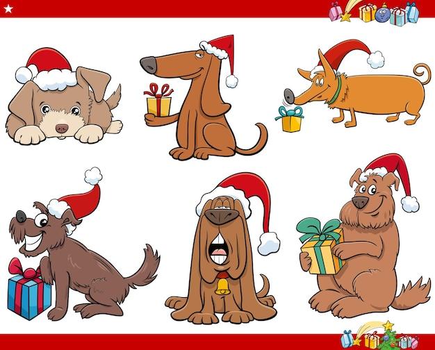 Карикатура иллюстрации собак животных персонажей на рождество время набор