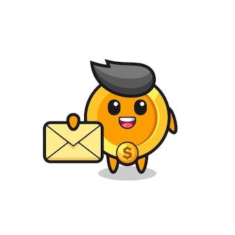 黄色の文字を保持しているドル通貨コインの漫画イラスト、tシャツ、ステッカー、ロゴ要素のかわいいスタイルのデザイン